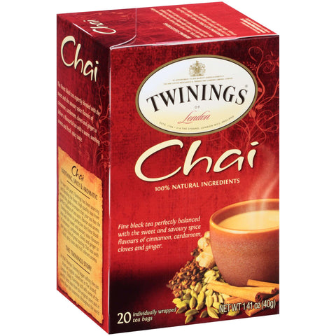 Twinings of London Tea - Chai Tea Decaffeinated (Pack of 20 Tea Bags) 40g
