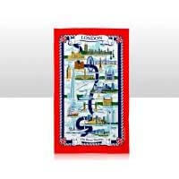 British Brands Tea Towel - Red with River Thames Map 100% Cotton 70g