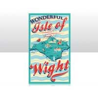 British Brands Tea Towel - Turquoise with Isle of Wight Map 100% Cotton 70g