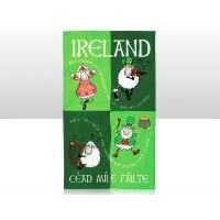 British Brands Tea Towel - Green with Cartoon Irish Sheep 100% Cotton 70g
