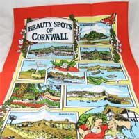 British Brands Tea Towel - Red with Cornwall Beauty Spots 100% Cotton 70g