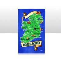 British Brands Tea Towel - Green and Blue Ireland Map 100% Cotton 70g