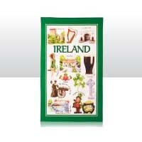 British Brands Tea Towel - Green Iconic Ireland Map 100% Cotton 70g