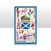 British Brands Tea Towel - Blue Iconic Scotland 100% Cotton 70g