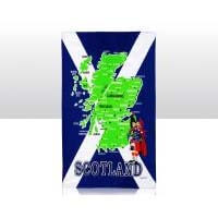 British Brands Tea Towel - Blue and Green Scotland Map and St Andrews Flag 100% Cotton 70g