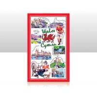 British Brands Tea Towel - Red Iconic Wales 100% Cotton 70g