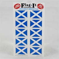 "British Brands Stickers - Scotland St. Andrews Cross Flag (10 Stickers per Sheet) 1.5"" x 1"" 10g"