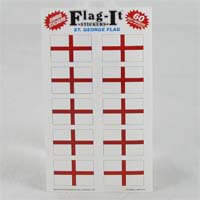 "British Brands Stickers - England St. George's Cross Flag (10 Stickers per Sheet) 1.5"" x 1"" 10g"