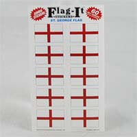 "British Brands Stickers - England St. Georges Cross Flag (10 Stickers per Sheet) 1.5"" x 1"" 10g"