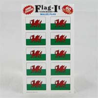 "British Brands Stickers Welsh Flag (10 Stickers per Sheet) 1.5"" x 1"" 10g"