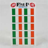 "British Brands Stickers - Irish Flag (10 Stickers per Sheet) 1.5"" x 1"" 10g"