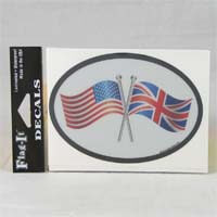 British Brands Decal USA and UK Flags Oval Shape Reflective and Waterproof 10g