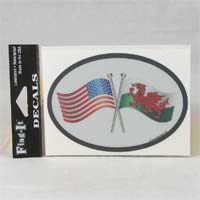 British Brands Decal - USA and Welsh Flags Oval Shape Reflective and Waterproof 10g