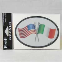 British Brands Decal USA and Irish Flags Oval Shape Reflective and Waterproof 10g