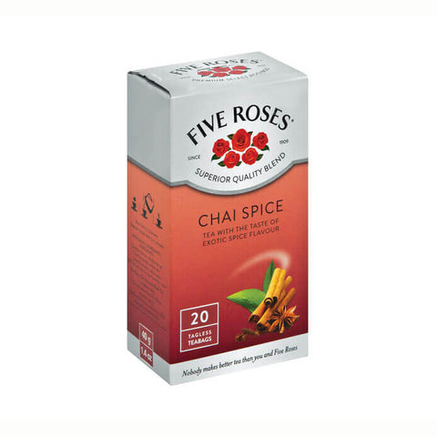 Five Roses Tea - Chai Tea Bags (Pack of 20 Bags) 40g