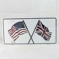 British Brands License Plate Union Jack and USA flag 96g