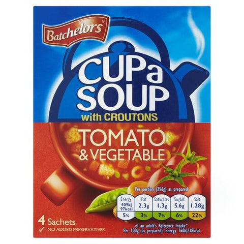 Batchelors Cup a Soup - Tomato and Vegetable Flavour with Croutons (Pack of 4) 104g