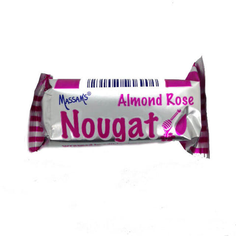 Massams Nougat - Rose Almond Bar (Kosher) 25g