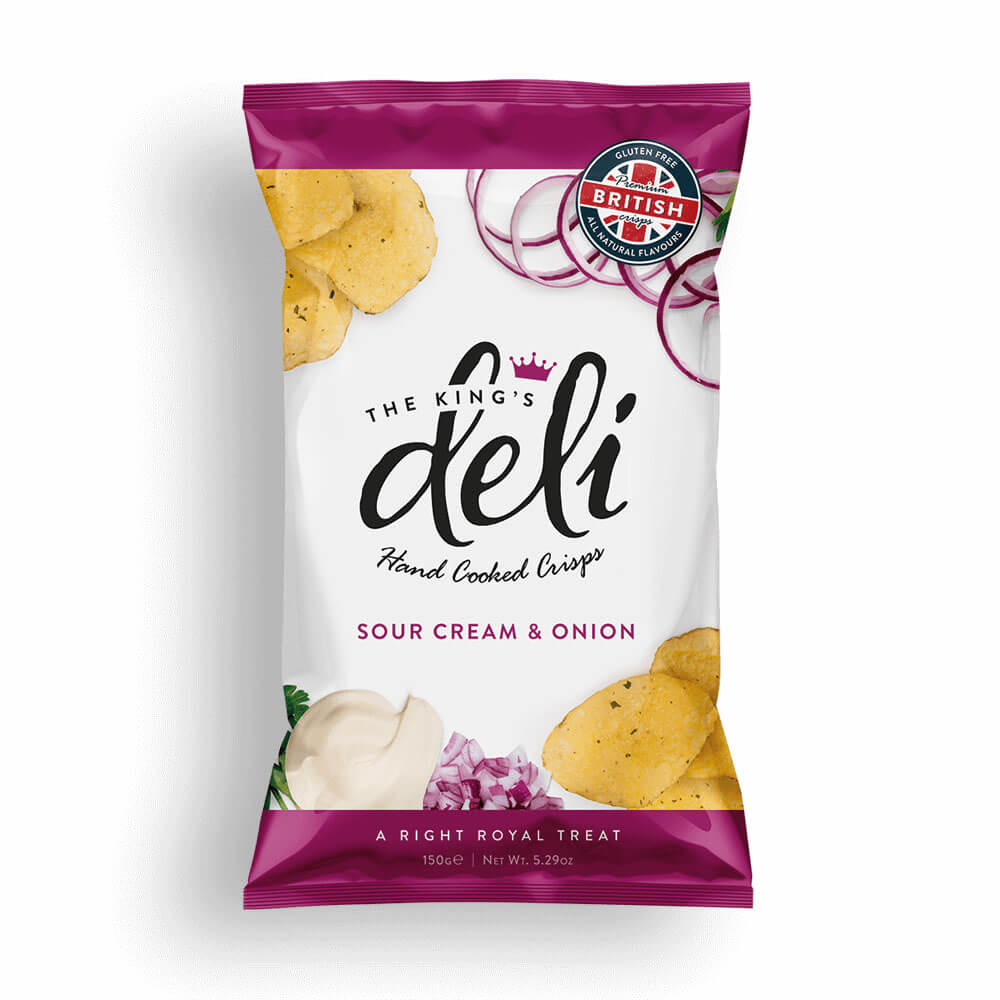 The Kings Deli Sour Cream and Onion Crisps 150g