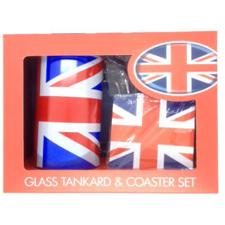 British Brands UK Glass Tankard and Coaster Set 250g