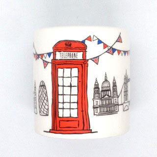 British Brands Money Box - Ceramic with a Sketchy Telephone Design 350g