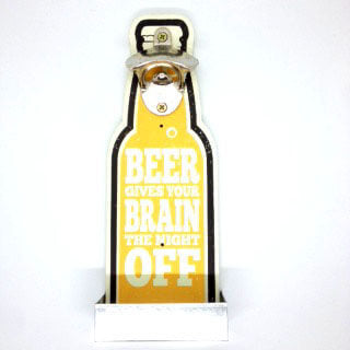British Brands Bottle Opener - Wall Mounted Wooden Beer Gives Your Brain the Night Off 314g