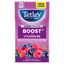 Tetley Tea - Boost Super Green Tea with Blueberry and Raspberry (Pack of 20 Teabags) 40g