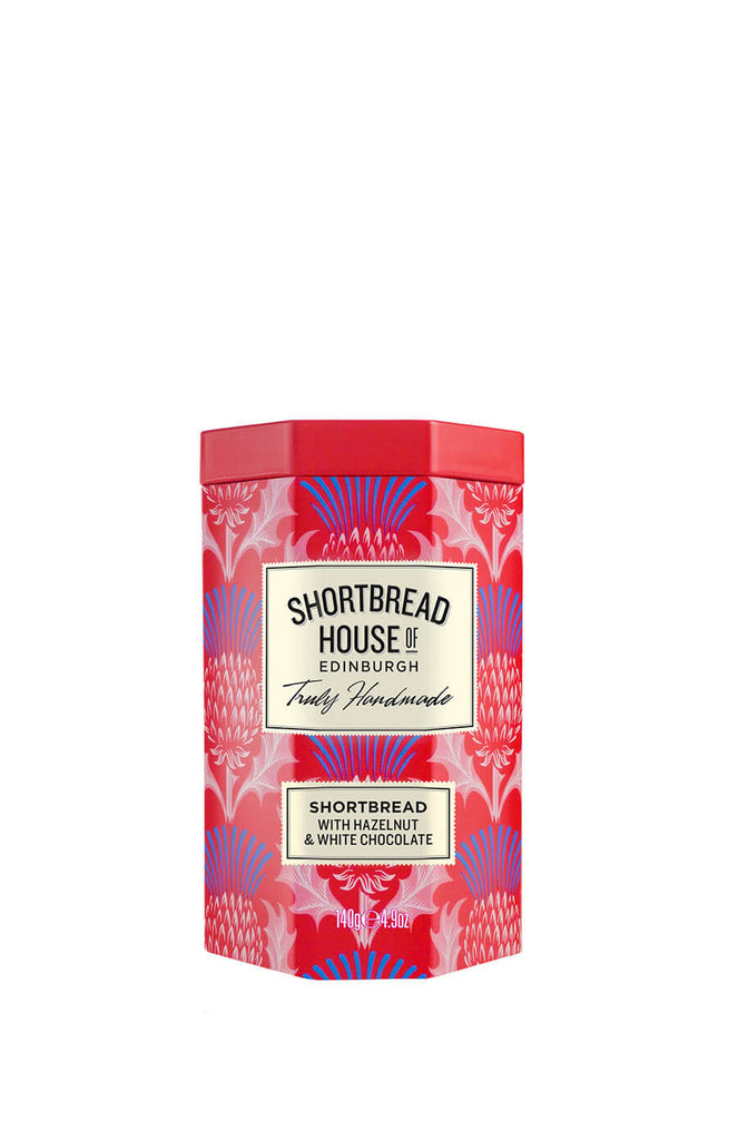 House Of Edinburgh Shortbread With Hazelnut And White Chocolate Tin 140g