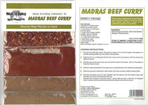 Nice and Spicy - Madras Beef Curry Spice Mix 10g