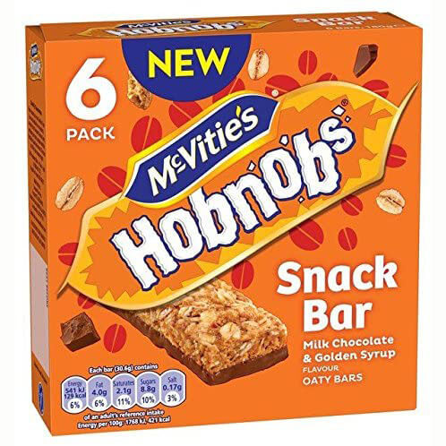 McVities Hob Nobs - Snack Bars Milk Chocolate and Golden Syrup Flavour (Pack of 6 Bars) 180g