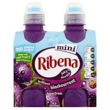 Ribena Blackcurrant Juice - No Added Sugar Mini Bottles (Pack of 4 Bottles) 800ml