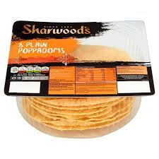 Sharwoods Puppodoms - Plain Ready to Eat (Pack of 8 Pappadums) 72g