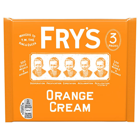 Frys Orange Cream Chocolate Bars (Pack of 3 Bars) 147g