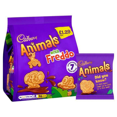 Cadbury Animals - Mini Biscuits with Freddo (Pack of Approximately 7 Snack Bags) 139.3g