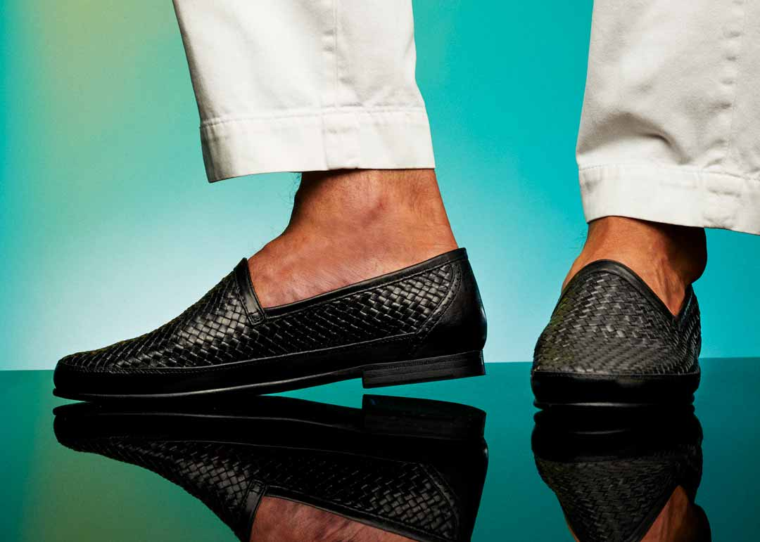 Black woven leather loafer