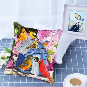 Partial AB Drill Diamond Painting Pillow- Bird House-eprolo-Diamond Art Painter
