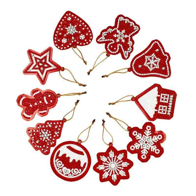 10pcs Partial Drill 5D Diamond Painting Christmas Ornament (DIY)-Christmas Cheer eprolo 10pcs-2