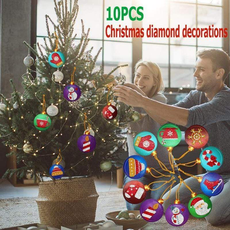 10pcs Partial Drill 5D Diamond Painting Christmas Ornament (DIY)-Christmas Cheer eprolo
