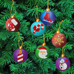 10pcs Partial Drill 5D Diamond Painting Christmas Ornament (DIY)-Christmas Cheer