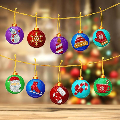 Image of 10pcs Partial Drill 5D Diamond Painting Christmas Ornament (DIY)-Christmas Cheer eprolo
