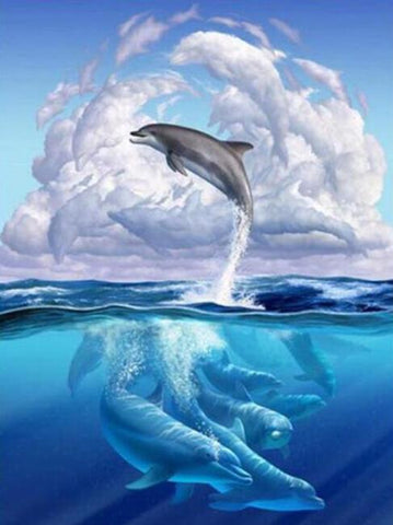 DIY Diamond Painting Kit - Dolphin Cloud-Diamond Painting-CJ-30X40-Diamond Art Painter
