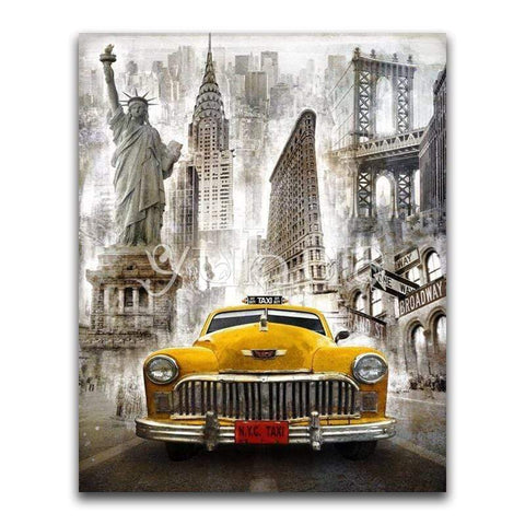 Image of Big Yellow Taxi 5D Diamond Painting-eprolo-Square Drill 15x20cm-Diamond Art Painter