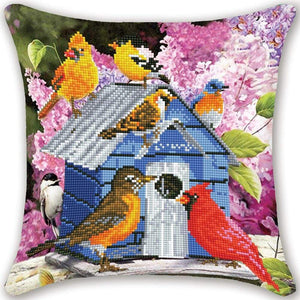 Partial AB Drill Diamond Painting Pillow- Bird House