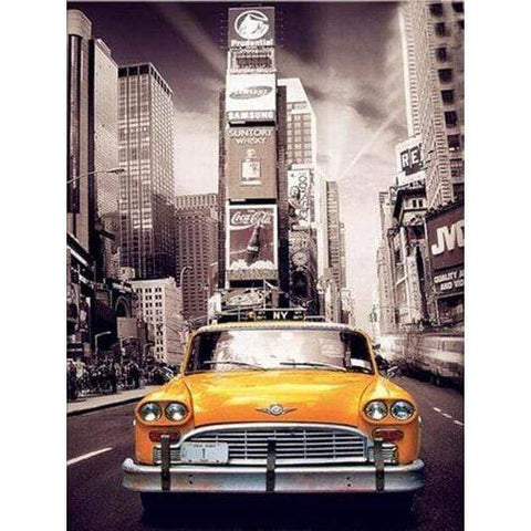 Image of 5D Diamond Painting Kit (DIY)- New York City Taxi Diamond Art Painter H119 full square 75x100cm