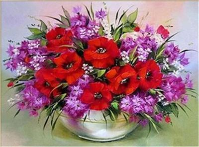 Image of 5D DIY Full Drill Diamond Painting Flower Bouquet Cross Stitch Craft Kit Diamond Art Painter Brown 30*40cm