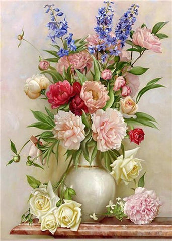 5D DIY Full Drill Diamond Painting Flower Bouquet Cross Stitch Craft Kit Diamond Art Painter Plum 30*40cm