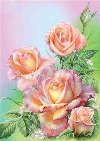 Image of 5D DIY Full Drill Diamond Painting Flower Bouquet Cross Stitch Craft Kit Diamond Art Painter Purple 30*40cm