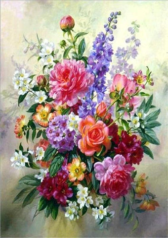 Image of 5D DIY Full Drill Diamond Painting Flower Bouquet Cross Stitch Craft Kit Diamond Art Painter Red 30*40cm