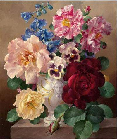 Image of 5D DIY Full Drill Diamond Painting Flower Bouquet Cross Stitch Craft Kit Diamond Art Painter Sky Blue 30*40cm