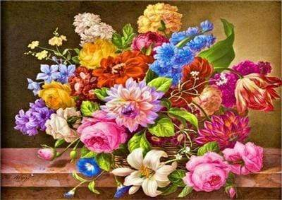 5D DIY Full Drill Diamond Painting Flower Bouquet Cross Stitch Craft Kit Diamond Art Painter White 30*40cm